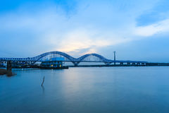 Nanjing railway yangtze river bridge at dusk Stock Photos