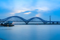 Nanjing railway yangtze river bridge at dusk Stock Photo