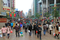Nanjing Road crowds Royalty Free Stock Photo