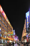 Nanjing Road by night at Shanghai, China Royalty Free Stock Images