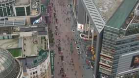 Nanjing Road. Pedestrian Street in Huangpu District. Shanghai City, China. Aerial View. Drone is Orbiting