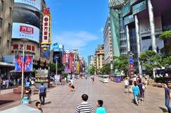 Nanjing-Straßen-Fußgänger-Straße Stockfotos