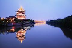 Nanjing Water Simon Square delightful Pavilion Night Royalty Free Stock Images