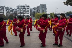 Nanjing wuding gate qinhuai river waist drum team. Jiangsu nanjing wuding gate park square, there is a group of enthusiasts, often carry on the waist inspiring Stock Image