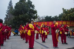 Nanjing wuding gate qinhuai river waist drum team. Jiangsu nanjing wuding gate park square, there is a group of enthusiasts, often carry on the waist inspiring Stock Images