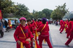 Nanjing wuding gate qinhuai river waist drum team. Jiangsu nanjing wuding gate park square, there is a group of enthusiasts, often carry on the waist inspiring Royalty Free Stock Photos