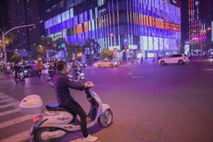 The purple night scene of nanjing xinjiekou city.