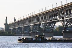 Nanjing Yangtze River Bridge. Under the Nanjing Yangtze River Bridge royalty free stock images