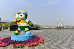 Nanjing youth Olympic Games mascots le le. Nanjing youth Olympic Games mascots lele, rain flower stones, for the creative source, with dynamic, modern art stock images