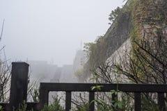 Nanjing Zhonghuamen Ming Dynasty Ancient Castle na névoa densa fotografia de stock