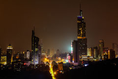Nanjing zifeng, China. Night view of city in Nanjing, China Stock Image