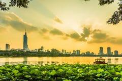 Nanjingszonsondergang stock fotografie