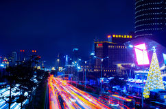 Nanning CBD night scene. Nanning is the capital city of Guangxi province in China Royalty Free Stock Photography