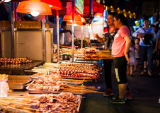 NANNING, CHINA - JUNE 9, 2017: Food on the Zhongshan Snack Stree Royalty Free Stock Photos