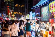 NANNING, CHINA - JUNE 9, 2017: Nanning Zhongshan Snack Street wi Royalty Free Stock Images