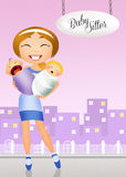 Nanny with baby. Illustration of babysitter with child Royalty Free Stock Photo