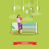 Nanny with a child. Nursery room interior. Vector illustration in flat style. Baby, cradle. Nanny with a child. Nursery room interior. Vector illustration in Royalty Free Stock Photos
