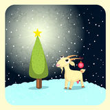 Nanny goat. New year night goat snow star tree Stock Photography