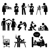 Nanny Mother Father Baby Child Care Pictogram. A set of pictogram representing nanny, mother, father taking care of children Stock Photos