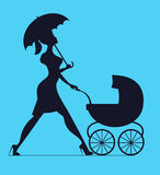 Nanny. Woman walking with a baby carriage. Vector silhouette Stock Photo