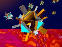 Nano Bots in the human Body. 3D rendered Illustration of medical microscopic Nano Bots floating in the human Body .r royalty free illustration