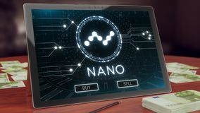 Nano cryptocurrency logo on the pc tablet display. 3D illustration stock image