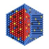 Nano deeltjes in hexagonale dwarsdoorsnede Stock Afbeeldingen