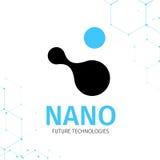 Nano embleem - nanotechnologie Malplaatjeontwerp van logotype Vectorpresentatie Stock Fotografie