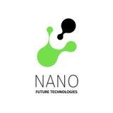 Nano embleem - nanotechnologie Malplaatjeontwerp van logotype Vectorpresentatie Stock Afbeelding