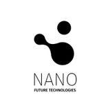 Nano embleem - nanotechnologie Malplaatjeontwerp van logotype Vectorpresentatie Royalty-vrije Stock Foto's