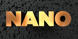 Nano - Gold text on black background - 3D rendered royalty free stock picture Royalty Free Stock Image