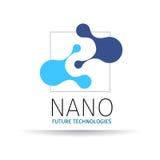 Nano logo - nanoteknik Malldesign av logotypen Vektorpresentation arkivfoto