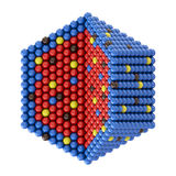 Nano particles in hexagonal cross section. On white background vector illustration