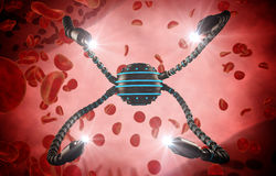 Nano robot and blood cell injection. Medical concept anatomical future Royalty Free Stock Photo