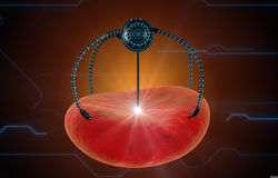 Nano robot and blood cell injection. Medical concept anatomical future Stock Photos
