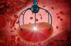 Nano robot and blood cell injection. Medical concept anatomical future Stock Photography