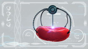 Nano robot and blood cell injection. Medical concept anatomical future. HUD background royalty free illustration