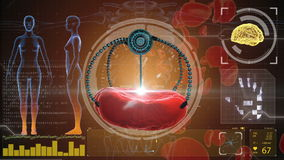 Nano robot and blood cell injection. Medical concept anatomical future