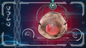 Nano robot kills the human cell. Medical concept anatomical future. HUD background.  royalty free illustration