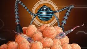 Nano robot nawozi komórki jajko sztuczne zapłodnienie Medyczna pojęcie przyszłość ilustracja wektor