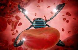 Nano-Roboter- und Blutzelleeinspritzung Anatomische Zukunft des medizinischen Konzeptes Lizenzfreie Stockfotos