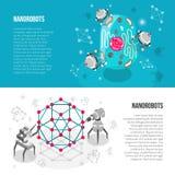 Nano Robots Isometric Banners. Set of horizontal isometric banners with nano robots, lattice, cell isolated on white turquoise background vector illustration stock illustration