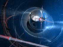 Nano Tech series #1. Digital created scenery showing three Satellites on their way through a tunnel Stock Photo