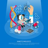 Nano Technologies Isometric Composition. On blue background with scientific laboratory, micro chip, robots, medical innovation vector illustration vector illustration