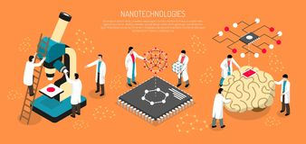 Nano Technologies Horizontal Illustration. Nano technologies isometric composition on orange background with scientists, human brain with micro chip horizontal stock illustration