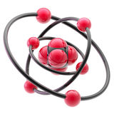 Nano technology emblem as atomic structure. Science and nano technology glossy emblem as atomic structure isolated on white royalty free illustration