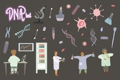 Nano technology and human dna research People and science vector illustration