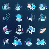 Nano Technology Isometric Icons. Scientists during nano technology development set of isometric icons isolated on dark gradient background vector illustration stock illustration