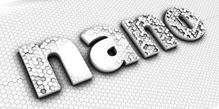 Nano teknologitecken eller logo bokstäver Arkivfoto