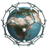 Nano world. Isolated earth whith nano net structure royalty free illustration